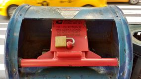 Postbox, Locked Mailbox, NYC, NY, USA. United States Postal Service, USPS: This Collection Box Has Been Locked. Do Not Attempt To Open Or Use. This photo was Stock Photo