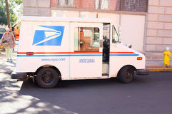 United States Postal Service USPS Delivery van. SEATTLE, OCT. 8: United States Postal Service USPS Delivery van truck parked in downtown Seattle, Washington Stock Images