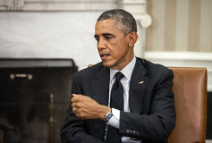 United States President Barack Obama. WASHINGTON D.C., USA - Sep 18, 2014: United States President Barack Obama during an official meeting with the President of Royalty Free Stock Photo