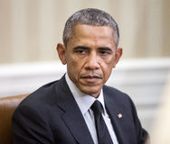 United States President Barack Obama. WASHINGTON D.C., USA - Sep 18, 2014: United States President Barack Obama during an official meeting with the President of Royalty Free Stock Images