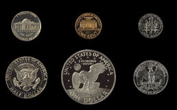 United states proof coins isolated Royalty Free Stock Image