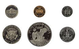 United states proof coins isolated Stock Image