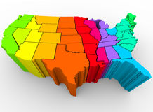 United States Rainbow Colors - Cultural Diversity. A map of the United States in a rainbow of colors, symbolizing the diverse range of cultures that make up the Royalty Free Stock Photo