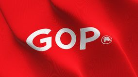 United States republican GOP logo flag waving on wind. stock images