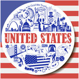 United States round background. Set vector icons and symbols  of USA landmarks Royalty Free Stock Photo