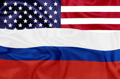United states and Russian federation flags Royalty Free Stock Images