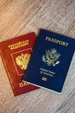 United States and Russian Passports Royalty Free Stock Images