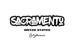 United States sacramento california city graffitti font typograp Royalty Free Stock Image