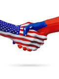 United States and Samoa flags concept cooperation, business, sports competition. United States and Samoa, countries flags, handshake concept cooperation stock image