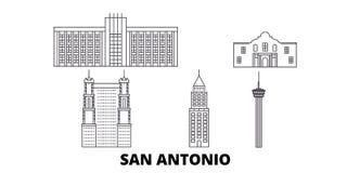 United States, San Antonio line travel skyline set. United States, San Antonio outline city vector illustration, symbol. United States, San Antonio line travel stock illustration
