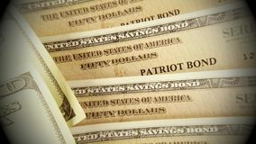 United States Savings Bonds with American Currency stock footage