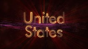 United States - Shiny looping country name text animation stock image