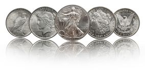 United states silver coins silver eagle, morgan and peace dollar stock photography