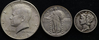 United States Silver Junk Coinage Half, quarter, and dime Stock Photography