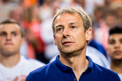 United states soccer coach Jurgen Klinsmann. During the countries anthems Stock Photo