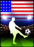 United States Soccer Player in Stadium Match Royalty Free Stock Images