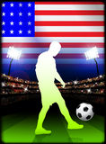 United States Soccer Player in Stadium Match Royalty Free Stock Image