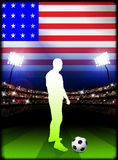 United States Soccer Player in Stadium Match Stock Images