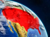 United States from space. On realistic model of planet Earth with country borders and detailed planet surface and clouds. 3D illustration. Elements of this stock illustration