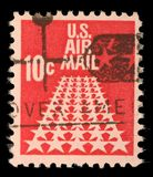 United States stamp used for overseas air mail deliveries showing air mail symbols Royalty Free Stock Photos