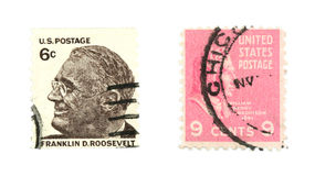 United States stamps. Collectible stamps from the United States. Set with Franklin Delano Roosevelt and William Henry Harrison Royalty Free Stock Image