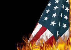 United States Stars and Stripes Flag Burning. Burning United States American stars and stripes flag in protest stock image