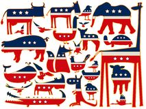 United states stylized animals. Animals vector against white background, with stylized american flag; abstract vector art illustration Royalty Free Stock Image
