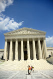 United States Supreme Court. Exterior of United States Supreme Court building with blue sky and cloudscape background, Washington D.C, U.S.A Stock Photo