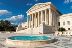 United States Supreme Court Building in Washington DC. The United States Supreme Court Building at sunset in Washington DC, USA Stock Photo