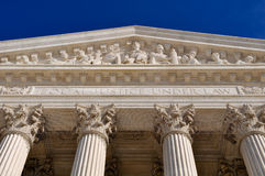 United States Supreme Court Pillars. United States Supreme Court Building Pillars with Equal Justice Under Law Text Stock Image