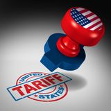 United States Tariffs. And American trade tariff in the US as a stamp mark as an economic import and exports tax or duty concept as a 3D illustration Royalty Free Stock Images