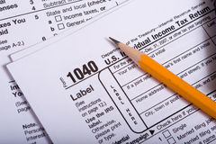 United States Tax Forms. Individual income tax forms from the United States with a pencil on top stock image