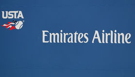 United States Tennis Association logo and main sponsor Emirates Airline sign at Billie Jean King National Tennis Center. NEW YORK - AUGUST 29, 2016: United stock photography