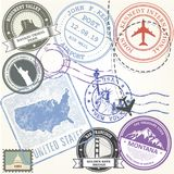 United states travel stamps set - USA journey symbols. And landmarks royalty free illustration