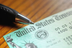 United States Treasury Check. Paper check from the United States Treasury royalty free stock photography