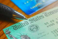 United States Treasury Check. Paper check from the United States Treasury stock photography