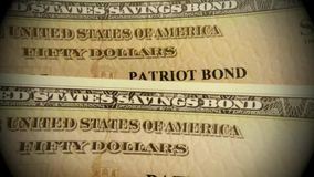 United States Treasury Savings Bond. Banking and financial security concept - United States Treasury Patriot Savings Bond stock video footage