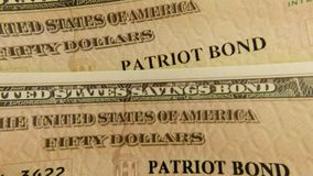 United States Treasury Savings Bond. Banking and financial security concept - United States Treasury Patriot Savings Bond stock video