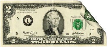 United States two dollar bill. Isolated on a white background stock photos