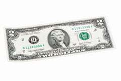 United States two-dollar bill made an angle end stacked. High resolution photo royalty free stock photos