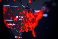 Free United States, USA . Coronavirus COVID-19 Global Cases Map. Red Dot Showing The Number Of Infected. Johns Hopkins University Map Royalty Free Stock Photo - 176692615