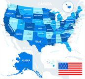 United States (USA) - map and flag - illustration. Royalty Free Stock Photography