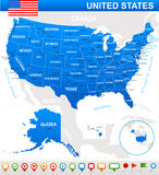 United States (USA) - map, flag and navigation icons - illustration. Royalty Free Stock Image