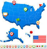United States (USA) map and navigation icons - Illustration. Royalty Free Stock Photos