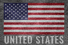 United states USA nation flag on jean texture design Royalty Free Stock Image