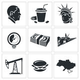 United States Vector Icons Set. America Icon flat collection isolated on a white background royalty free stock images