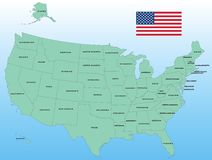 United States vector Map. With Flag Stock Photography