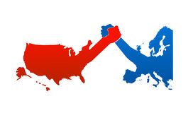 United states versus europe. Vector illustration as arm wrestling between europe and united states of america here represented by simple maps related to Royalty Free Stock Photo