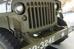 United States vintage army jeep front. Military jeep of yesteryear in army green on display in museum Royalty Free Stock Photos