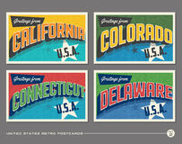 United States vintage typography postcards Stock Photo